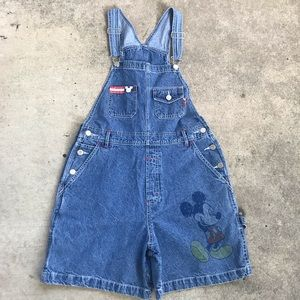 Vintage Mickey Mouse Overalls Shorts